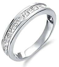 14k White Gold Diamond Classic Traditional Wedding Anniversary Band Ladies Womens Invisible Channel…