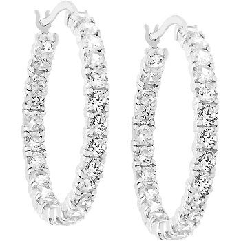 White Gold Bonded Rhodium Bonded Eternity Hoop CZ Earring