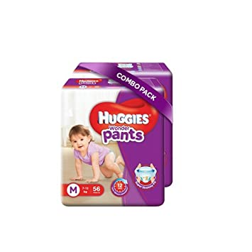 Image result for Huggies Wonder Pants Medium Size Diapers (Pack of 2, 56 Counts per Pack)