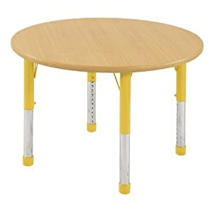Ecr4kids 36 round activity table standard legs w ball glides maple top yellow - Table glides for legs ...