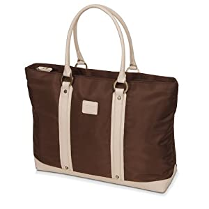 """miim 15.6"""" Macbook & Ipad Brown Bag for Ladies (Ivory Leather Trim) / Free Gift Pouch"""