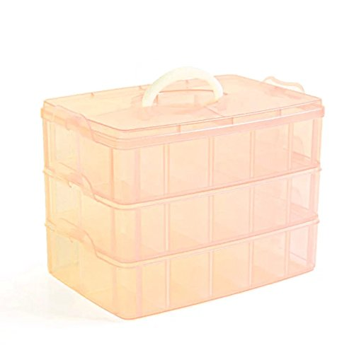 EYX Formula Plastic Transparent Handle Three Layers 30 Grids Storage Box Case,Portable Removable DIY Organize Box Makeup Box for Home Use (Duck Feet Mirror compare prices)