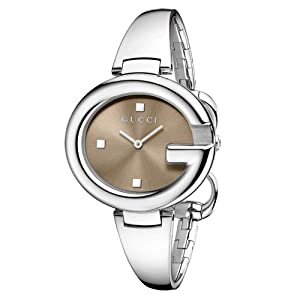 Gucci Guccissima Collection Women's Quartz Watch with Brown Dial Analogue Display and Brown Stainless Steel Bangle YA134302