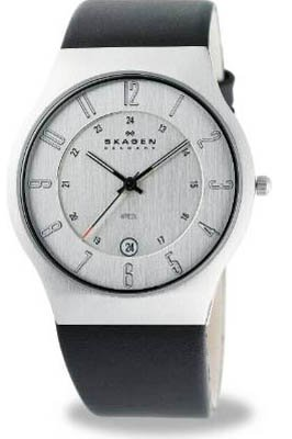 Skagen Men's Leather Strap Watch 233XXLSLC