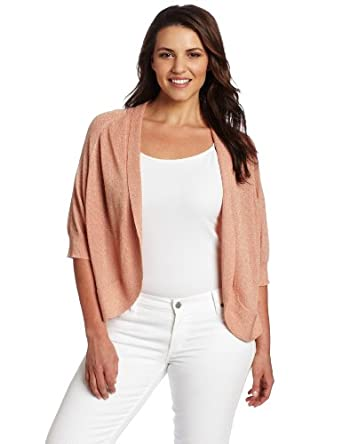 Calvin Klein Women's Plus-size Circle Shrug Sweater, Rose Gold,1X