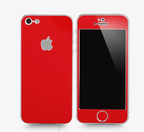 Apple Iphone 4/4S Aluminium Protective Sticker Skin Full Body Matte (Included Anti Finger Anti Glare Screen Protector Guard Film - 2 Pack) For Luxury Looks Diamond Cutting (Red)