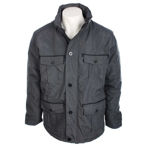 Fletcher & Lowe Mens Charcoal 4 Pocket Jacket with Funnel Neck in Size Small