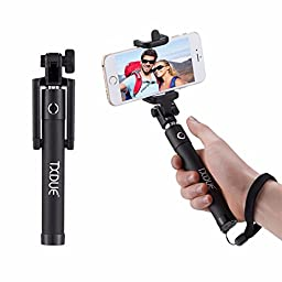Selfie Stick, TXDUE Foldable Extendable Bluetooth Selfie Sticks with Built-in Remote Shutter for iPhone Samsung and other IOS and Android Smartphones Black