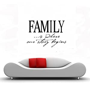 Amazon.com: FAMILY IS WHERE OUR STORY BEGINS Vinyl Wall Decals ...