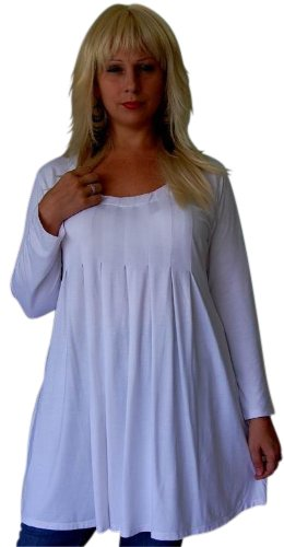 WHITE LYCRA PLEATED BABY DOLL SHIRT TOP - FITS