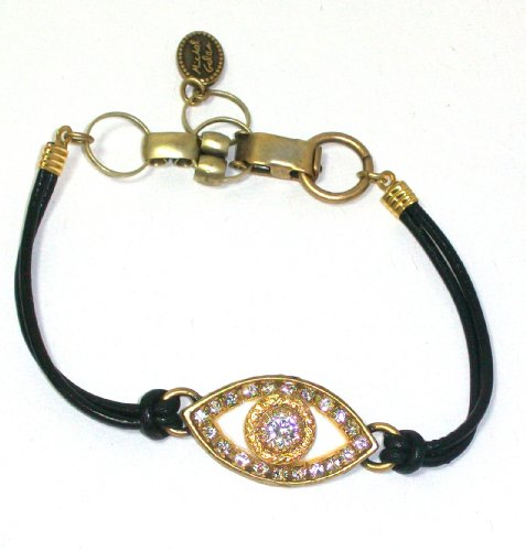 Designer Michal Golan 24k Gold Plated and White Enamel Evil Eye Bracelet with Clear Swarovski Crystals on Black Leather Cord