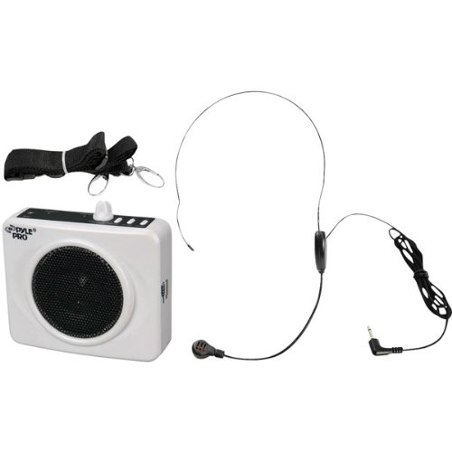 50 Watts Portable, Usb Waist-Band Portable Pa System With A Headset Microphone - White