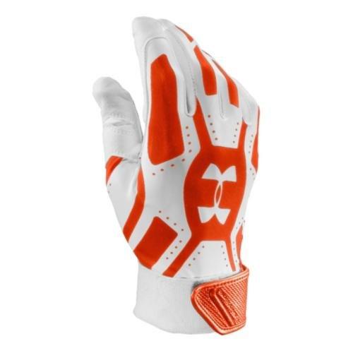 Mens  UA Motive Batting Glove, White/Dark Orange/Natural , M