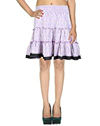 Gorgeous Casual Skirt Art Silk Purple Floral Printed For Her By Rajrang