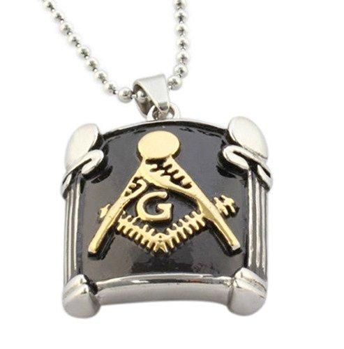Masonic Pendant Necklace W/ Gold Plated Design - Stainless Steel Freemason Pendant / Masonic Necklace - Freemason'S Jewelry For Free Masonry Member. Free Masons Masonary Design (Mason Pillar Pendant Gold And Black)