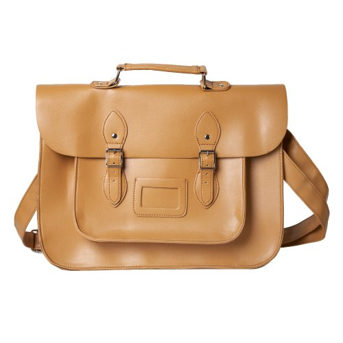 Faux Leather Traditional Vintage Style School Satchel Bag in Tan