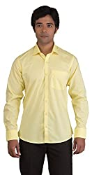 BearBerry Long Sleeve Casual Yellow Shirt (Small)