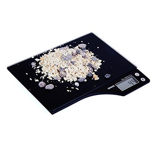 Duronic KS350 Küchenwaage mit Digitalanzeige aus schwarzem Glas bis zu 5kg mit 2 Jahre Garantie