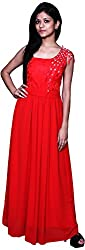 Trendz Today Women's Long Gown (GT11, Red, Large)