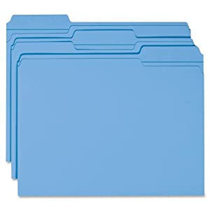 Smead File Folder, Reinforced 1/3-Cut Tab, Letter Size, Blue, 100 per Box (12034)