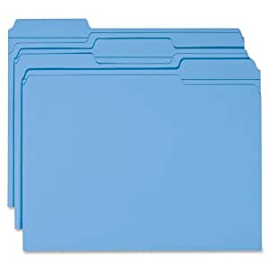 Smead File Folder, Reinforced 1/3-Cut Tab, Letter Size, Blue, 100 per Box (12034)