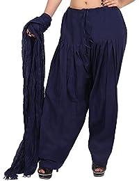 Teej New Women's Navy Blue Cotton Salwar With Dupatta Set