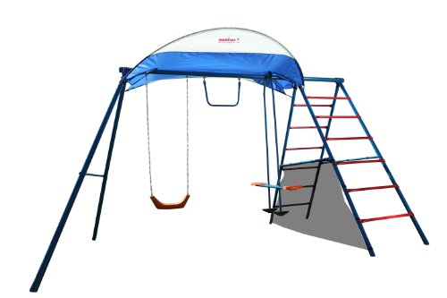 Ironkids Challenge 100 Metal Swing Set With Ladder Climber And Uv Protective Sunshade back-918824