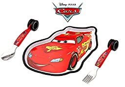 Disney Cars Lightning McQueen 3 piece Dining Set Plate, Fork and Spoon