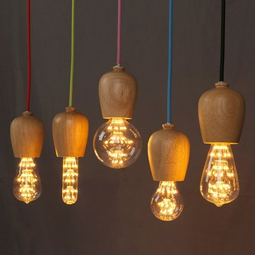 Retro Creative Single Head Wood Pendant Light Restaurant Cafe Colorful Wire Hanging Lamp Fixture
