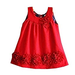 TheTickleToe Kids Baby Girl Red Flower Party Birthday Casual Woolen Winter Dress 4-5 years