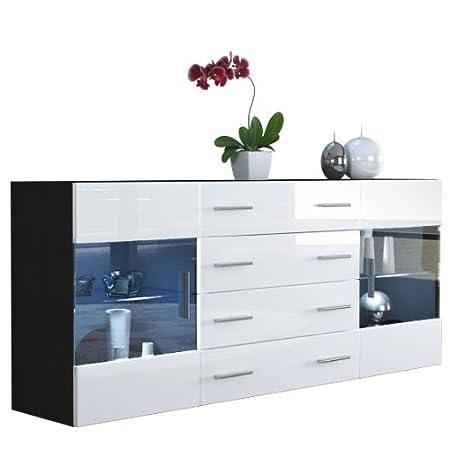 Buffet Dressoir Bari V2, Corps en Noir mat / Façades en Blanc haute brillance
