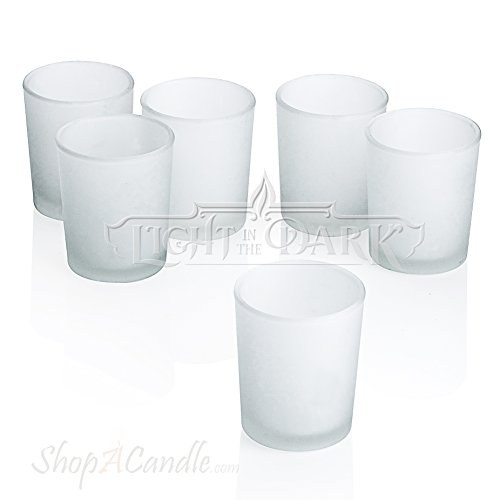 White Frosted Glass Round Votive Candle Holders Set of 36