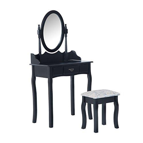 HomCom Makeup Dressing Table Vanity Set Wood Triple Folding Mirrors Drawers with Stool
