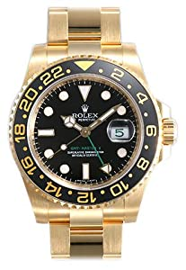 Rolex GMT Master II Black Index Dial Oyster Bracelet 18k Yellow Gold Mens Watch 116718BKSO