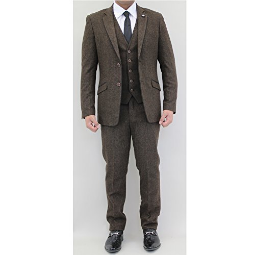 "Uomo Misto Lana Tweed Blazers Gilet Pantaloni 3 Pezzi Abiti By Cavani - Marrone - KAOS, Chest 36""/Waist 30"" Regular"