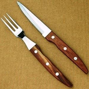 ステーキ用 フォークナイフセット(ナイフフォークセット) ファミレス品質のステーキ用 ステーキナイフとステーキフォークのセットです。ステーキ ビフテキ ローストビーフに!