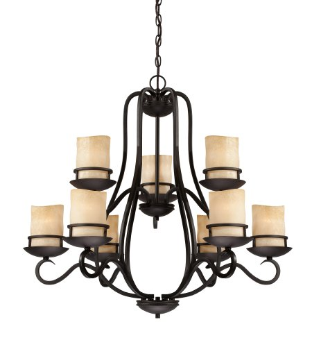 Designers Fountain 84789-NI  Lauderhill 9 Light Chandelier, Natural Iron