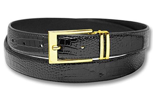 Biagio Croc Embossed BLACK Bonded Leather Belt Gold-Tone Buckle sz 34