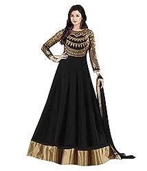 Clickedia Women's Net Dress Material (213 Prachi Black_Black_Free Size)