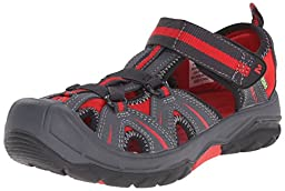 Merrell Hydro Water Sandal (Toddler/Little Kid/Big Kid), Grey/Red, 9 W US Toddler