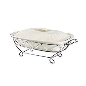 Godinger Siena 2 qt. Covered Ceramic Baker with Rack
