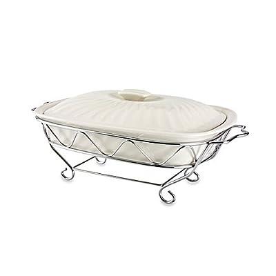 Godinger Siena 2 qt. Covered Ceramic Baker with Rack