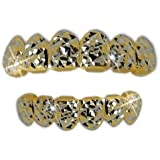Diamond Cut Two Tone Gold & Silver Removeable Mouth Grillz Set (Top & Bottom) Design 7