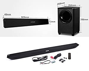 LuguLake 2.1 Channel 140 watt TV Sound Bar System, Home Theater Stereo Bluetooth Speaker 36 Inch Soundbar w/subwoofer by LuguLake