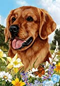 Golden Retriever Red Dog - Tamara Burnett Summer Flowers House Dog Breed Flag 28'' x 40''