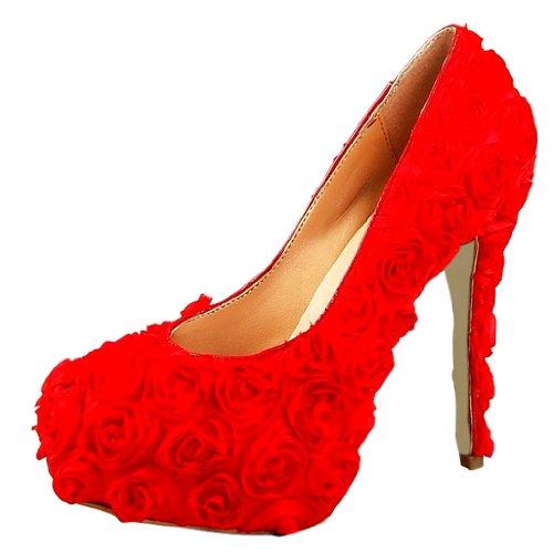 Honeystore Women'S Bridal Platform Flowers Lace Pumps Red 4.5 B(M) Us front-415543