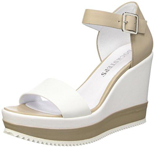 Docksteps Lipari Sandali con cinturino alla caviglia, Donna, Bianco (Bianco/Beige), 40