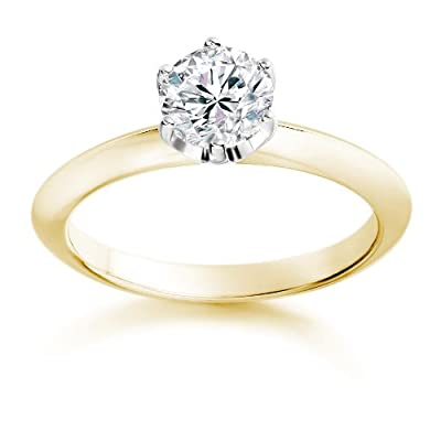 1/2 Carat G/SI1 Round Brilliant Certified Diamond Solitaire Engagement Ring in 18k Yellow Gold