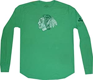 Chicago Blackhawks St Patricks Day Slim Fit Thermal Longsleeve T Shirt by Reebok