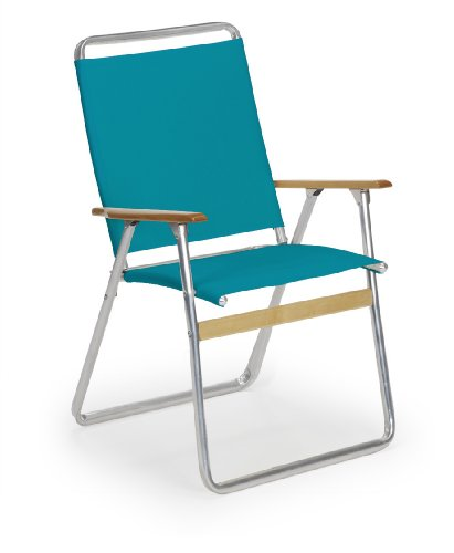Telescope Casual Easy In and Out High Back Folding Beach Arm Chair, Aqua